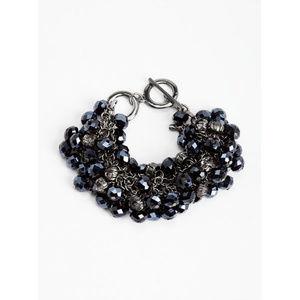GUESS Blue Bead with Rhinestone Mesh Bracelet